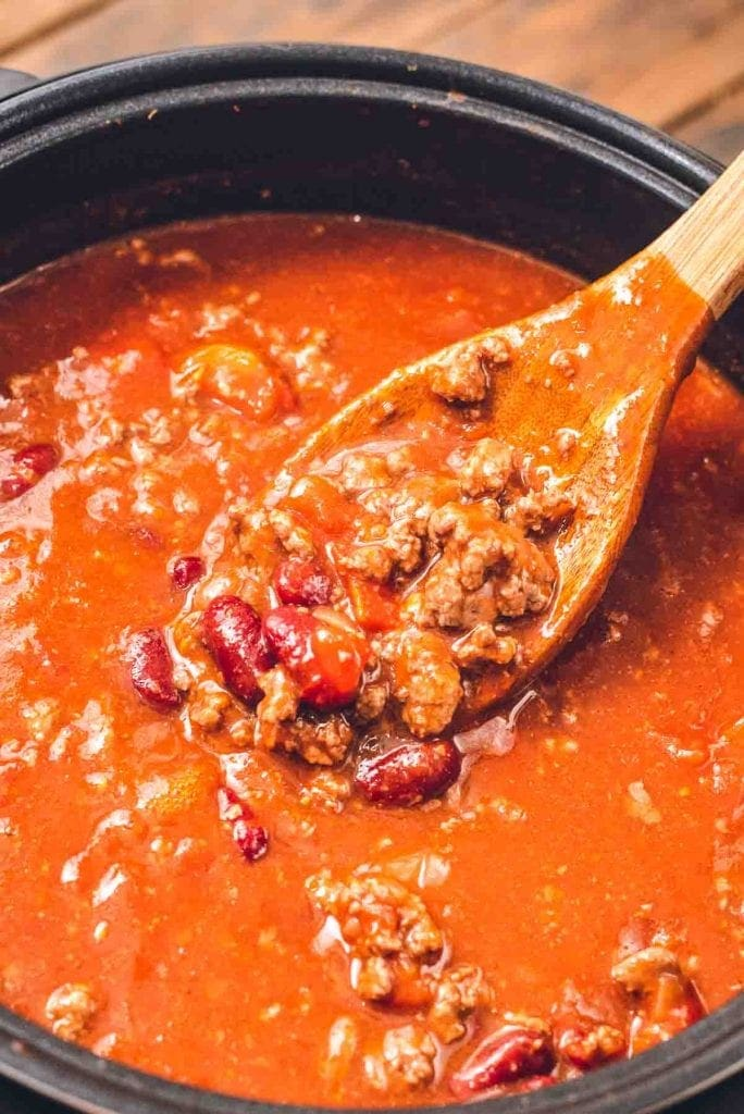 Spoon in chili