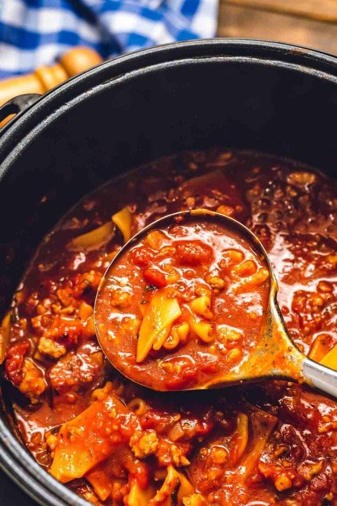 Ladle with soup