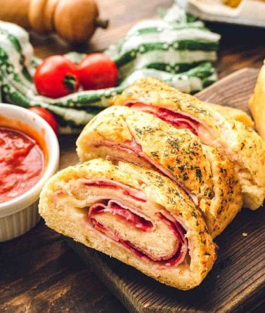 Sliced Stromboli on cutting board