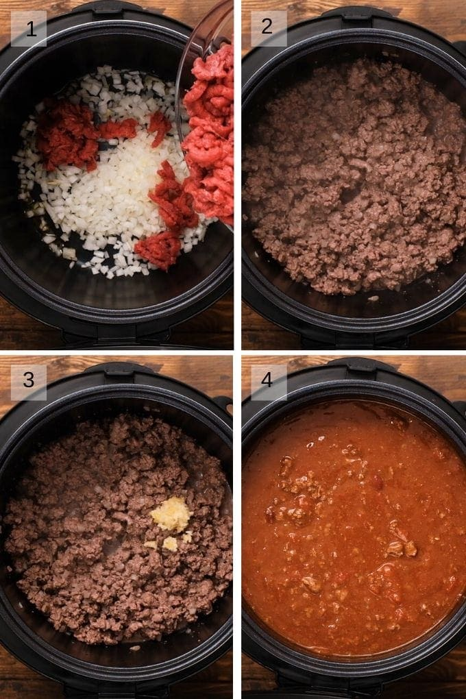 Collage of steps to make chili