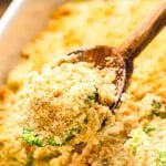 Wooden spoon with broccoli casserole