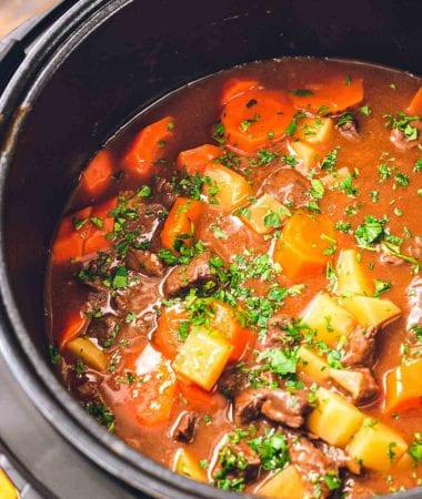 Instant Pot with beef stew in it