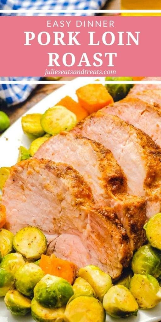 pork loin roast slices surrounded by Brussels sprouts and sweet potatoes on a white tray