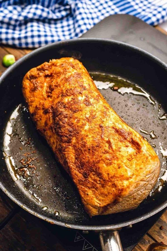 Pan frying pork loin roast