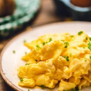 Plate with scrambled eggs