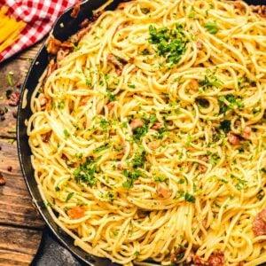 Pan of Spaghetti alla Carbonara