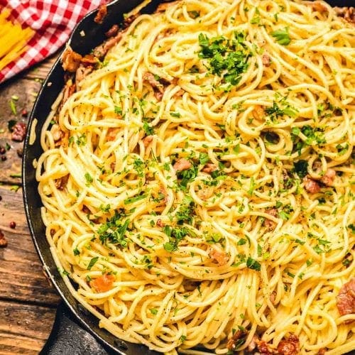 Pan with Spaghetti alla Carbonara