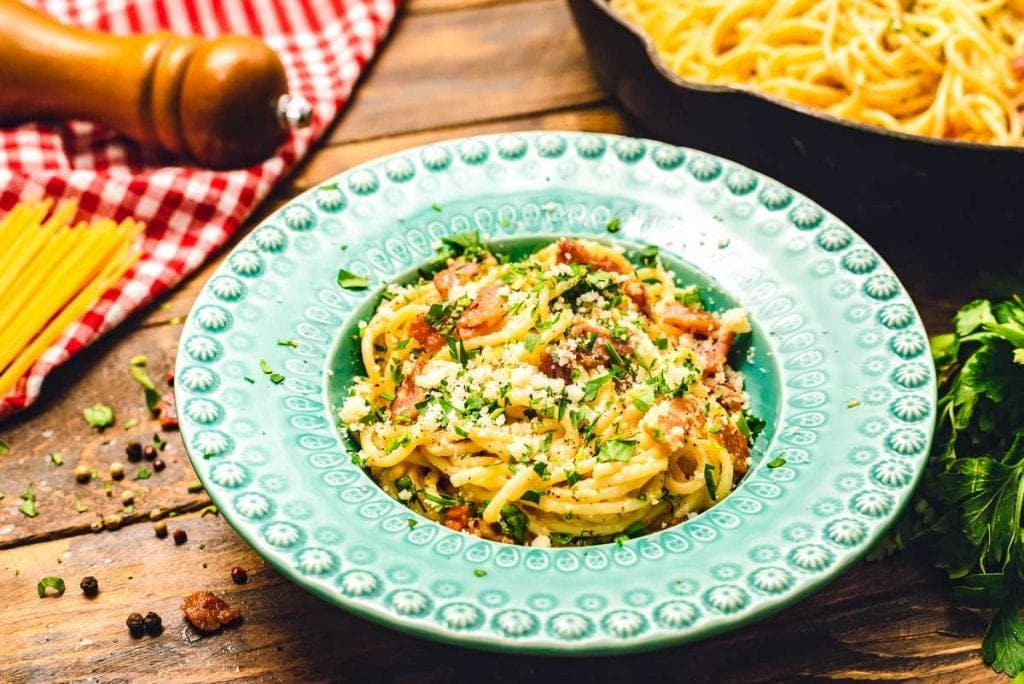 Blue bowl with pasta