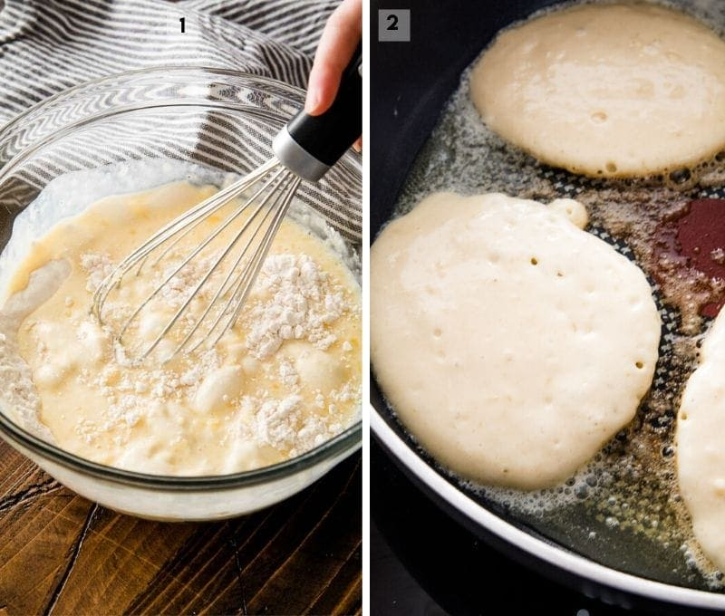 Collage of two pictures mixing pancakes batter and cooking pancakes in skillet