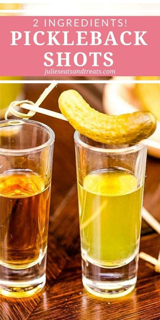 A shot glass of whiskey next to a shot glass of pickle brine with a pickle on top