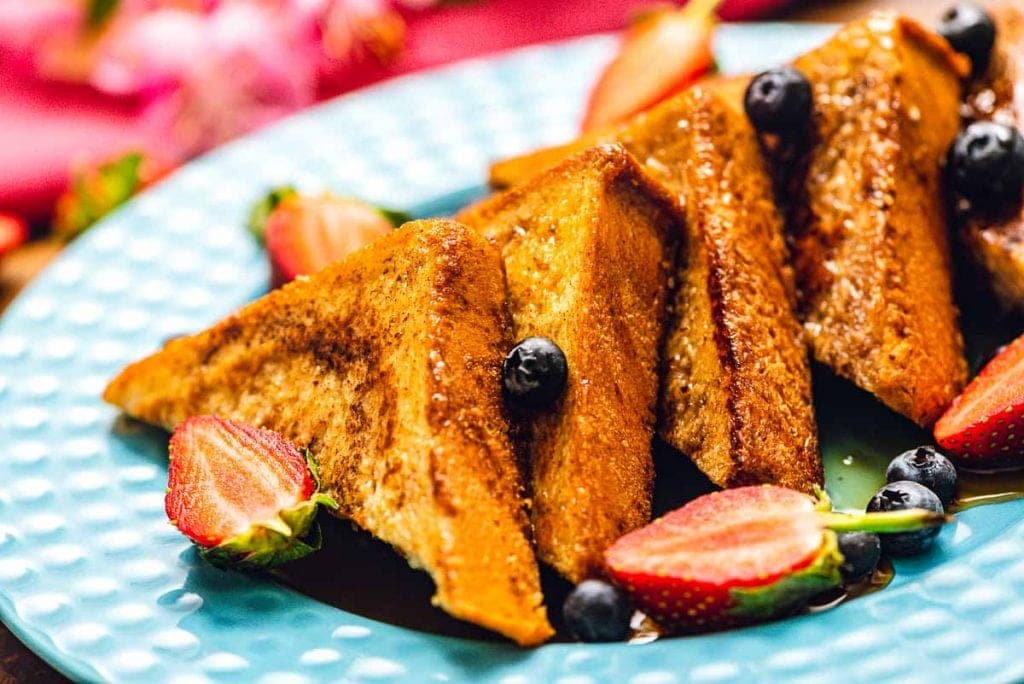 Sliced French Toast on plate