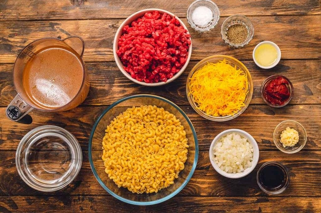 Overhead image of ingredients to make hamburger helper