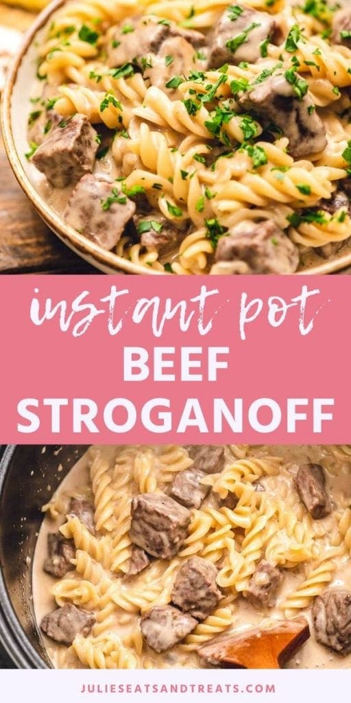 Instant Pot Beef Stroganoff Pinterest Collage. Top image of prepared beef stroganoff garnished with parsley in a bowl, bottom image of beef and noodles in an instant pot