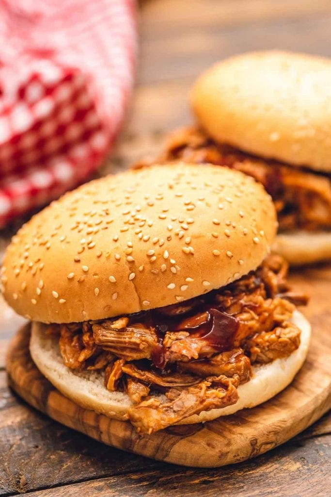 Pulled Pork Sandwich on cutting board