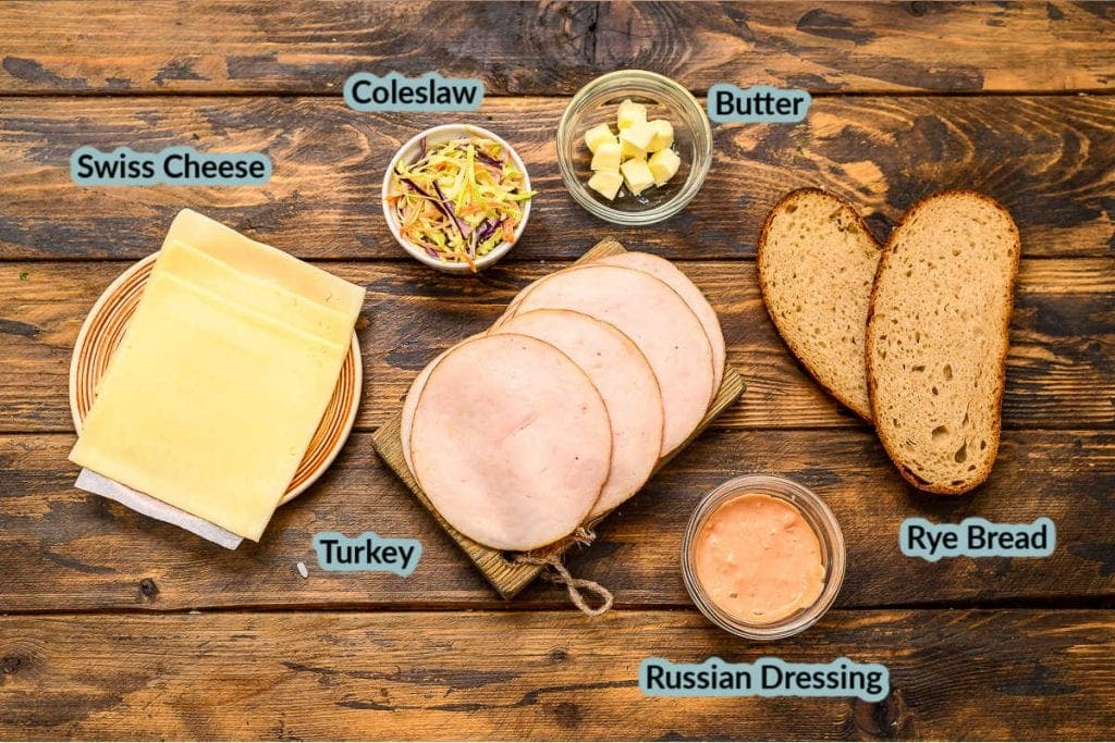 Image showing ingredients in dishes for Rachel Sandwiches