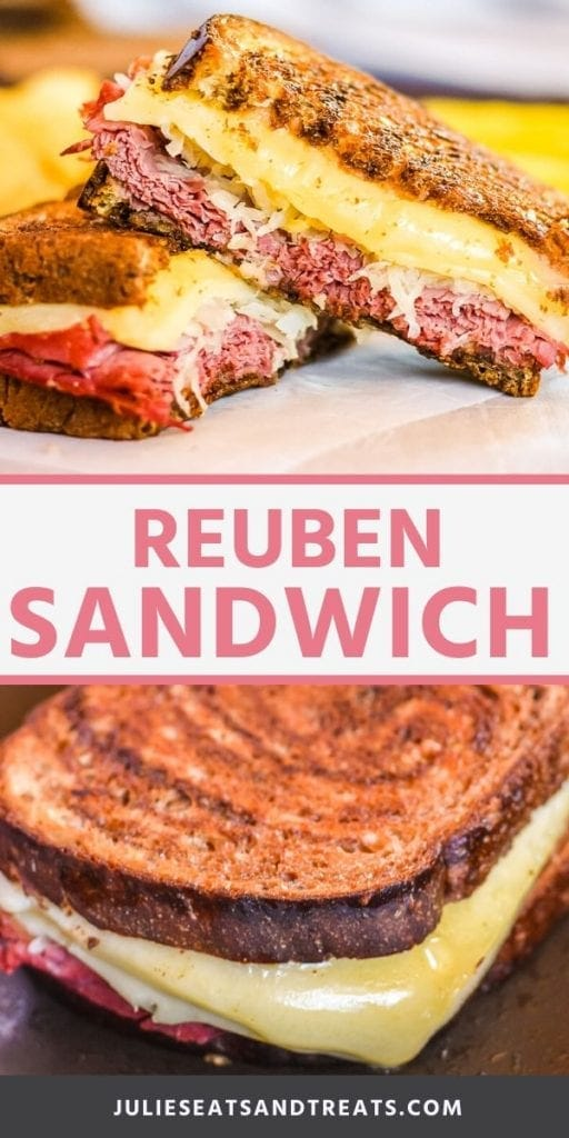 Reuben Sandwich collage. Top image of a reuben sandwich cut in half and stacked, bottom image of a reuben sandwich on a pan with cheese melting out.