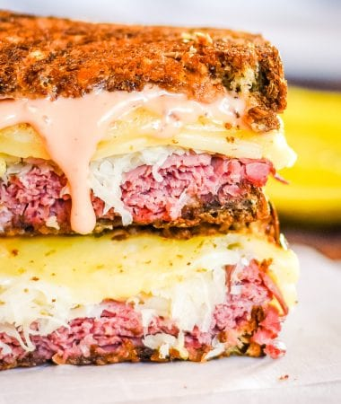 Reuben Sandwich cut in half and stacked