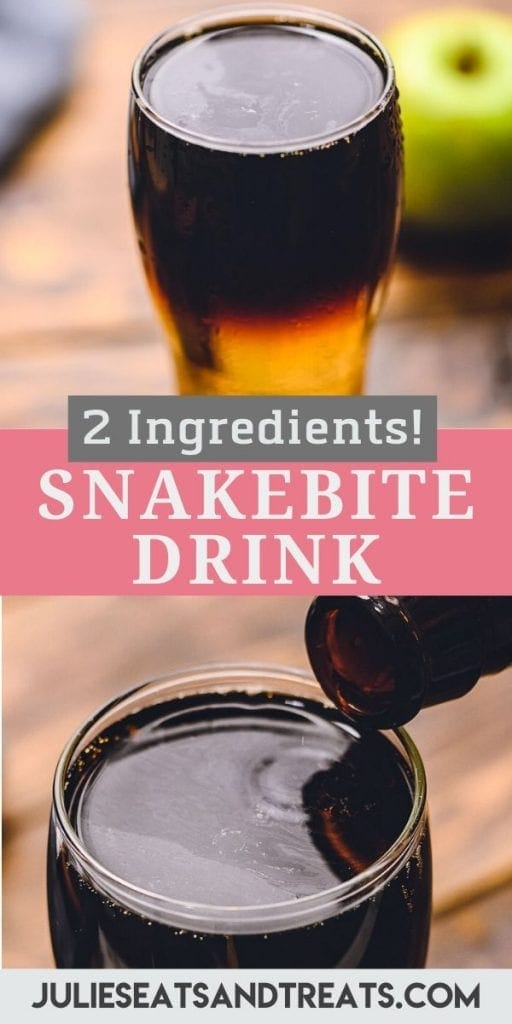 Pinterest Image of Snakebite. Top image of a snakebite drink in a small glass, bottom image of a glass bottle pouring into a small glass