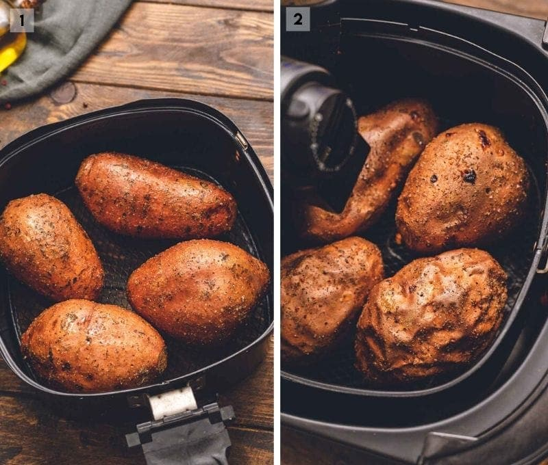 Collage of two photos placing sweet potatoes in air fryer and when they are done baking