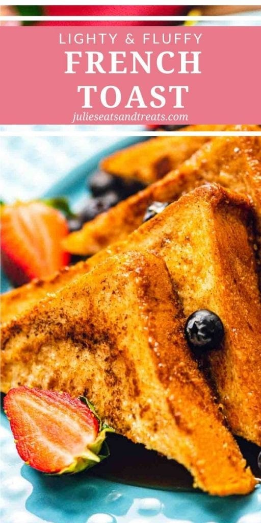 French Toast cut into triangles with berries on a plate