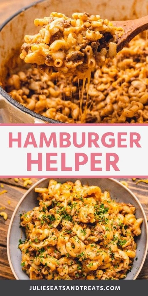 Pinterest Image of Hamburger. Top image of a wood spoon with a scoop of hamburger helper on it, bottom image of a gray bowl of hamburger helper topped with parsley