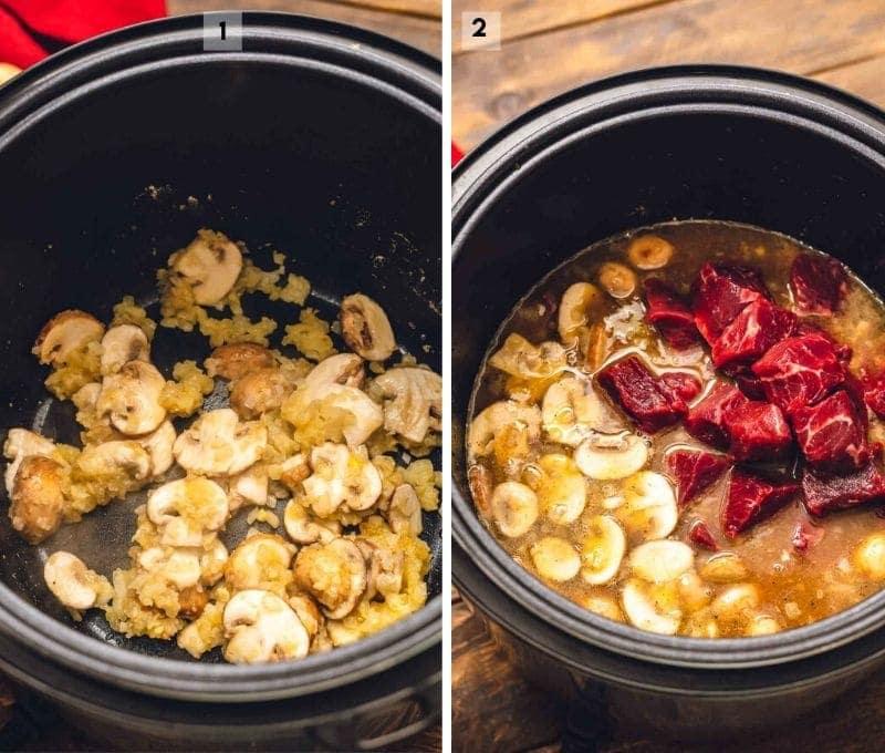 Instant Pot with Beef Stroganoff ingredients