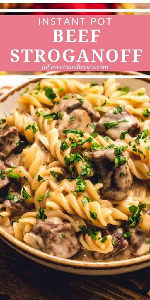 Instant Pot Beef Stroganoff in a cream bowl topped with parsley