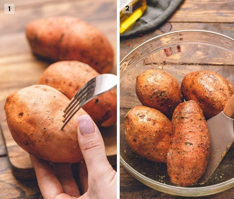 Collage of two photos prepping sweet potatoes with seasonings