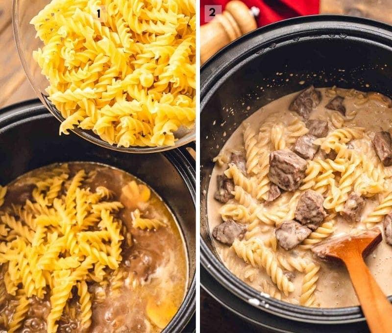 Pouring noodles into instant pot