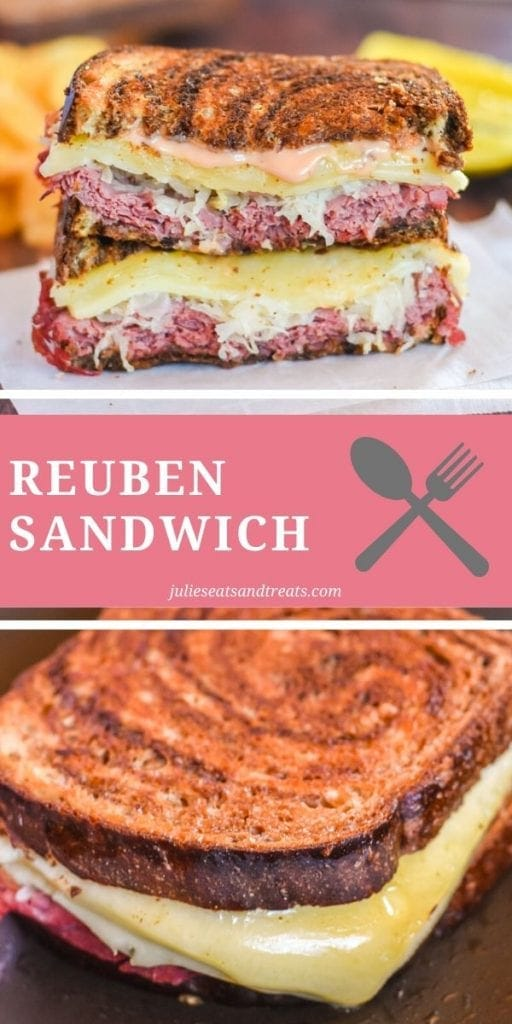 Pinterest Collage for Reuben Sandwich. Top image of a reuben sandwich cut in half and stacked, bottom image of a whole reuben sandwich on a pan with cheese melting out