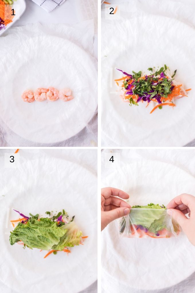 Collage of four images showing how to assemble spring rolls
