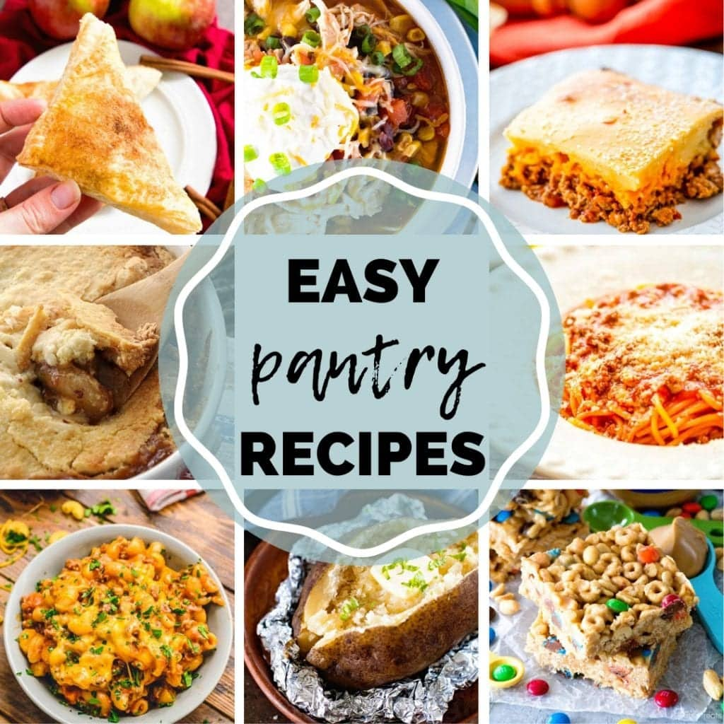 Square Image for Pantry Recipes with a collage of photos of recipes