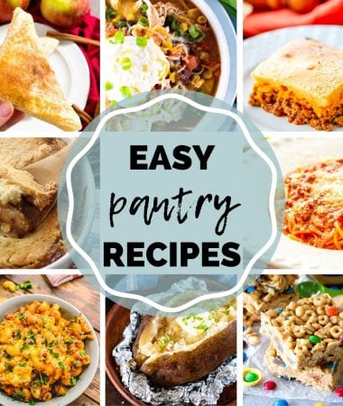 Eight images of recipes including spaghetti, potatoes, turnovers, and more with text in the center reading easy pantry recipes