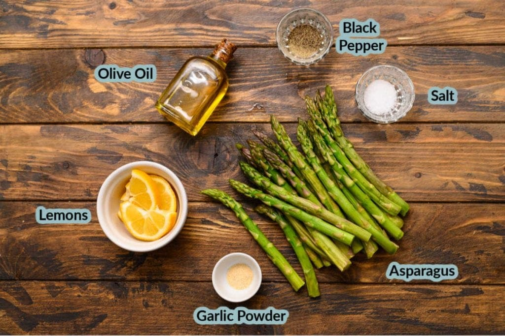Ingredients to make roasted asparagus
