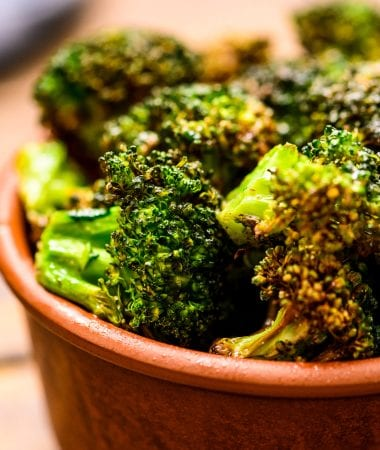 Brown bowl with roasted broccoli