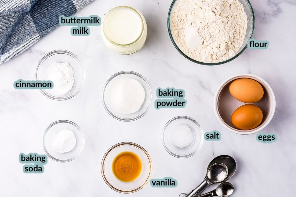 Overhead image of ingredients to make buttermilk pancakes