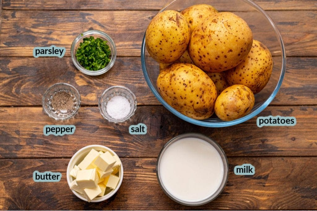 ingredients for recipe including potatoes milk butter salt pepper chives