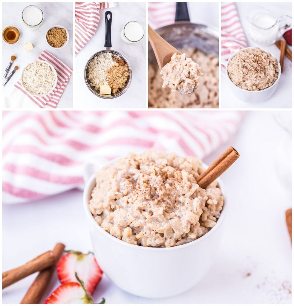 Collage of images showing ingredients needed preparing and prepared rice pudding