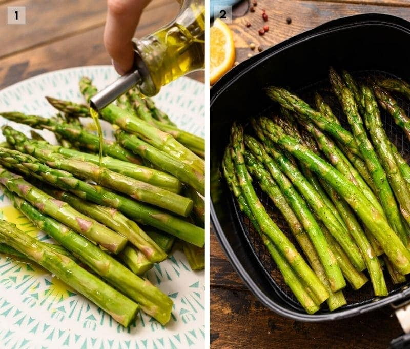 Two image collage on how to make air fryer asparagus