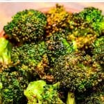 Air fryer roasted broccoli florets in a brown bowl