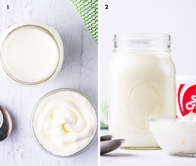 Two Image collage showing milk and sour cream to make buttermilk