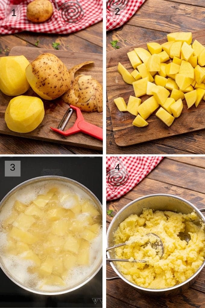 Collage of four images showing how to boil and mash potatoes
