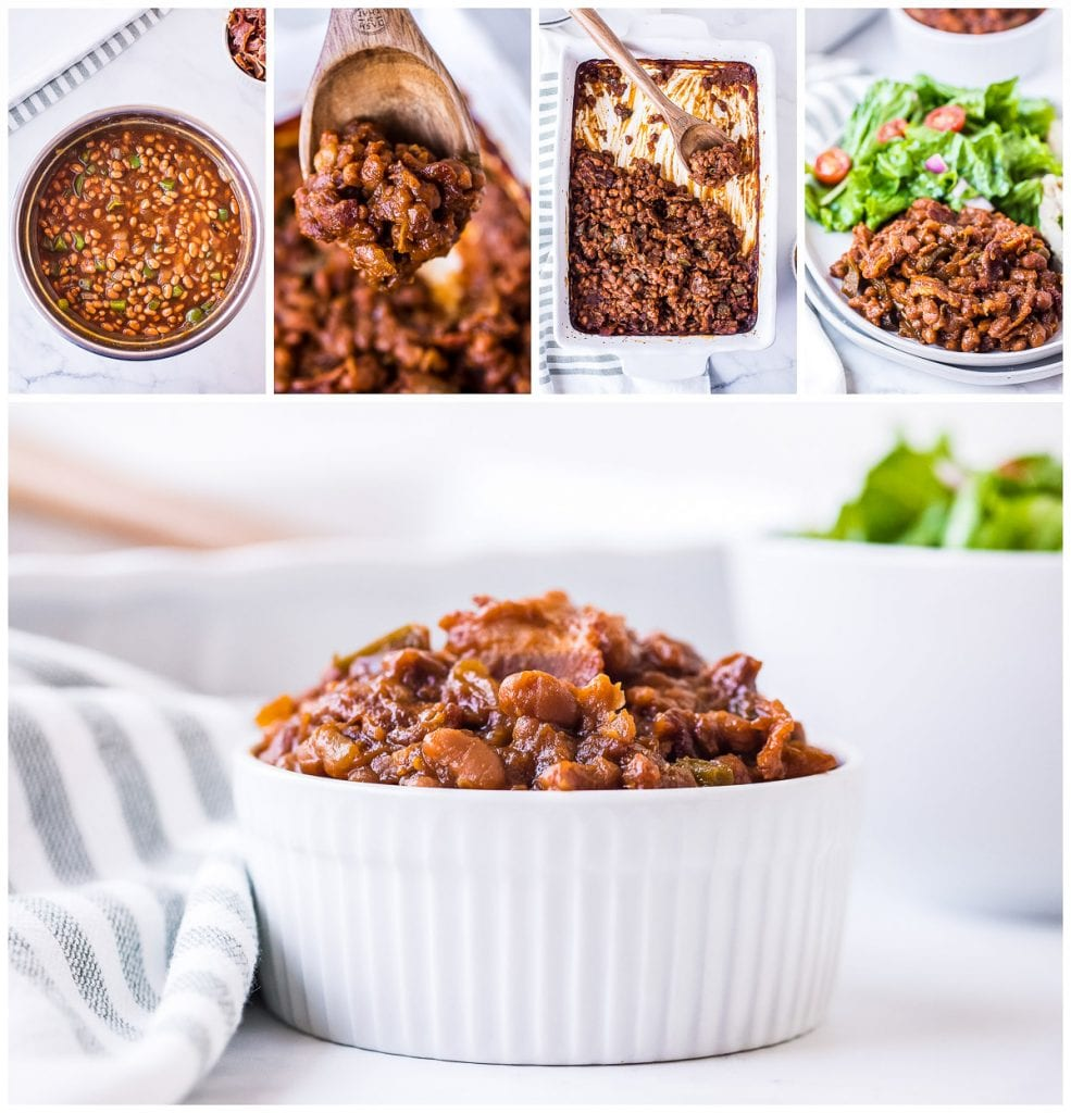 Collage of baked beans in pan, plated, bowl and more