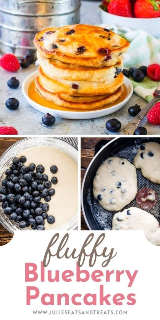 Pin Image with a picture of a stack of blueberry pancakes on top then a bowl of batter and pancakes frying in skillet. Text overlay of recipe name on bottom.