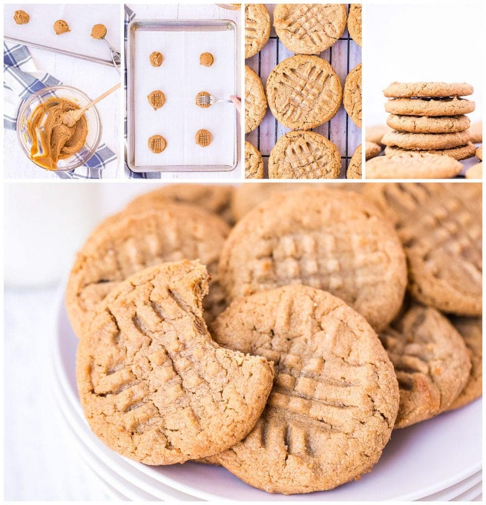 Collage of images showing ingredients mixed cookes on baking sheet and on a platter