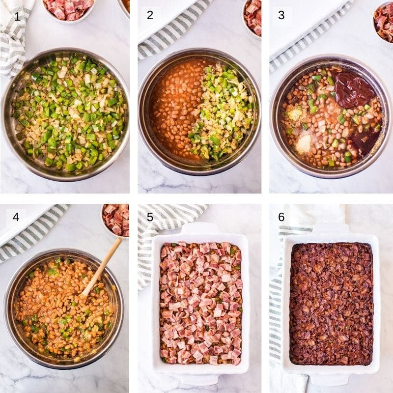 Collage of six photos showing how to make baked beans