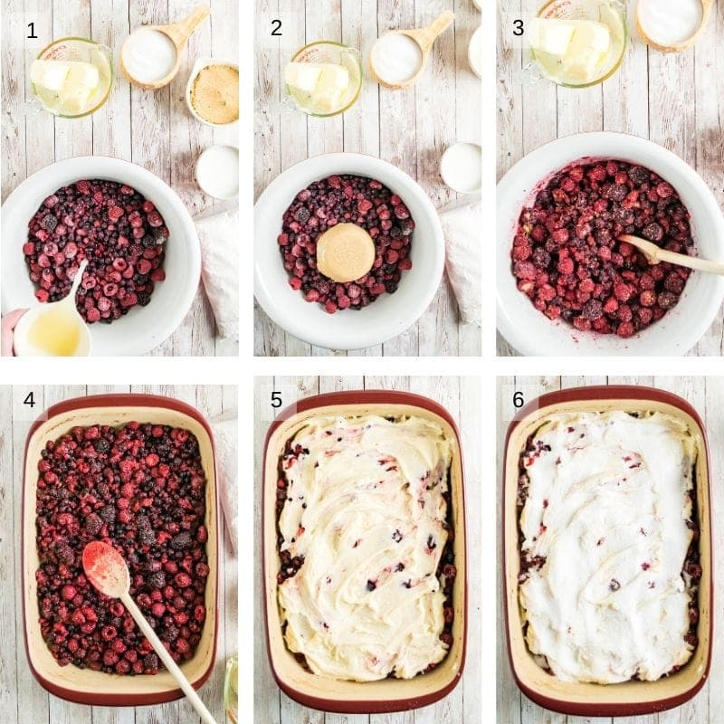 Collage of six images showing how to make cobbler