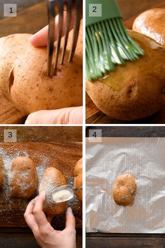 Collage of four pictures showing to pierce potato, brush with olive oil, season and wrap in aluminum foil