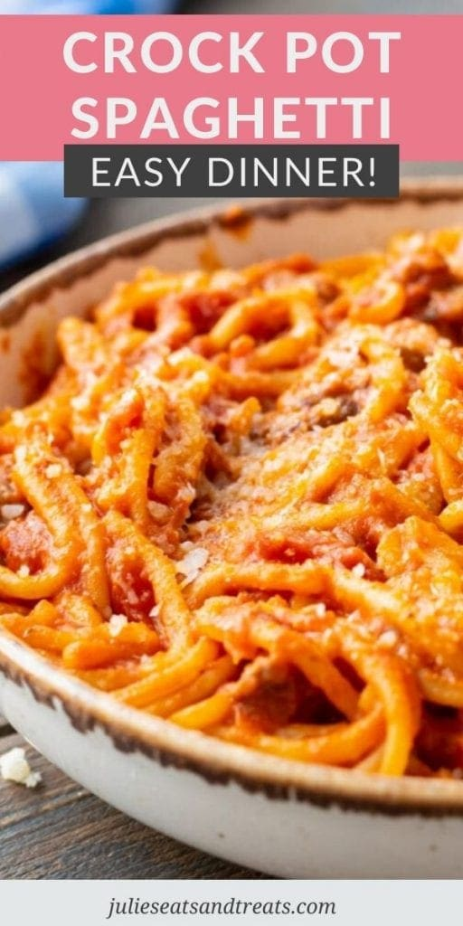 Image for Pinterest with text overlay on top saying Corkc Pot Spaghetti Easy Dinner and image below of spaghetti in bowl