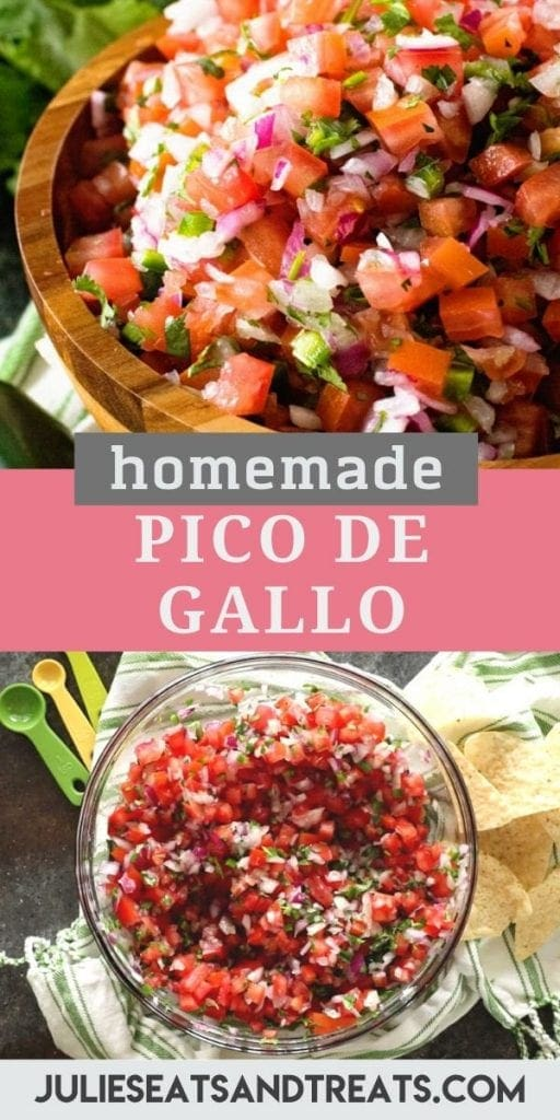 "Pinterest collage with a top image of pico de gallo in a wood bowl and a bottom image of the ingredients in a glass bowl. Pink and gray banner across the middle reading ""homemade pico de gallo"""